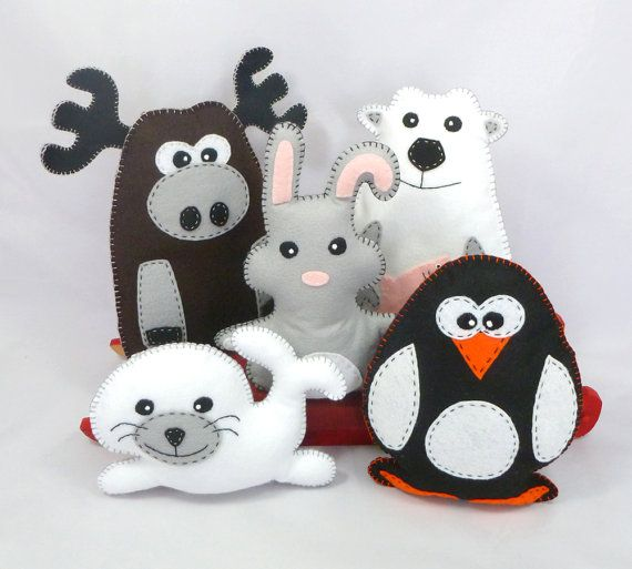 Arctic Stuffed Animals by Little Hibou Shoppe- Polar Bear, Rabbit, Moose Penguin, Seal - hand sewing patterns $7.50 on Etsy at http://www.etsy.com/listing/117262435/50-off-arctic-stuffed-animal-hand-sewing