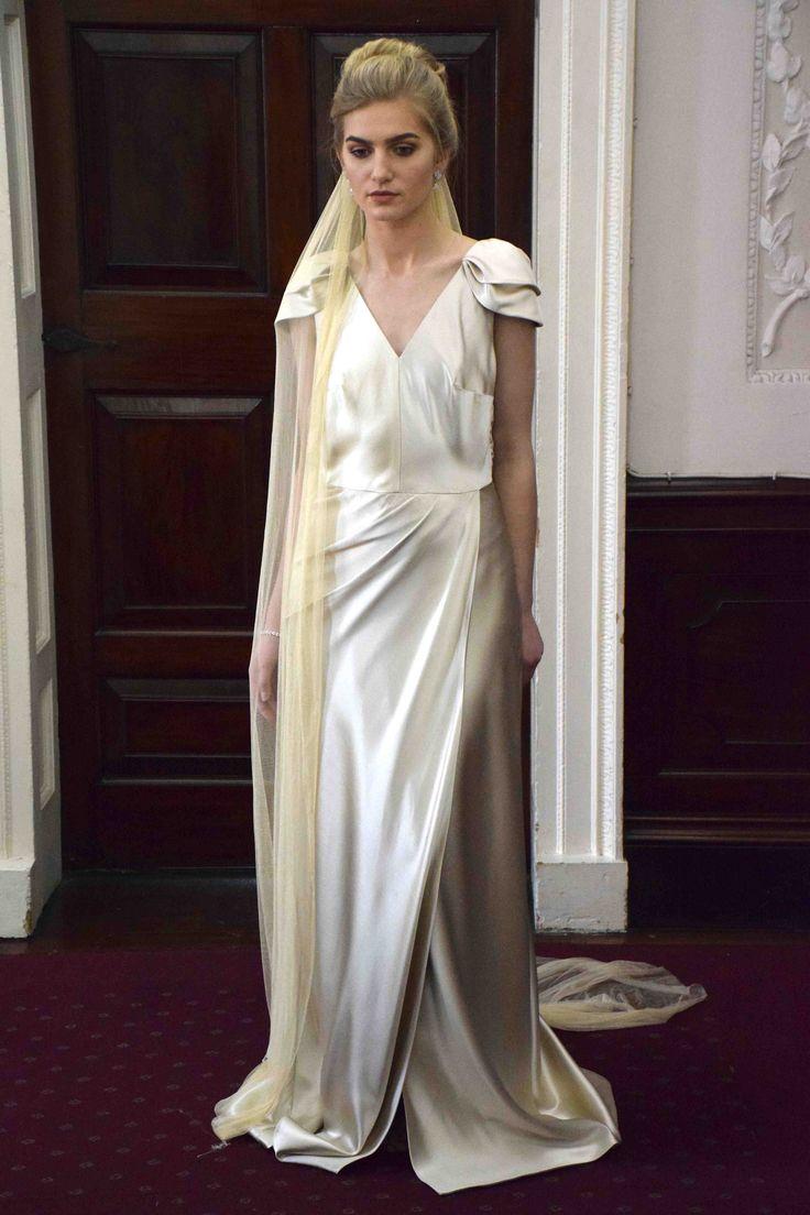 Edwina Arya Hathor Gown Champagne with Vintage Silk Veil www.edwinaarya.com