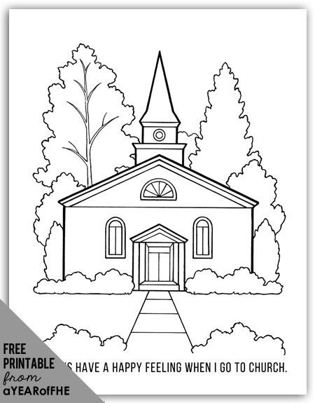 a year of fhe free coloring page of an lds church for young kids