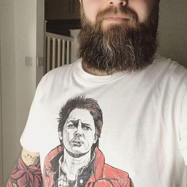 Marty Mcfly tee - happy bearhugger - #thebearhugco #lukedixon #martymcfly #backtothefuture #illustration #tshirt