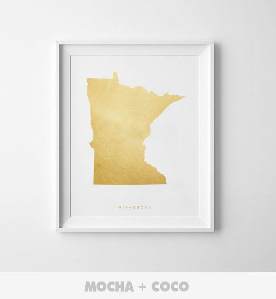 Minessota Gold Map Print US State PosterState Map by MochaAndCoco