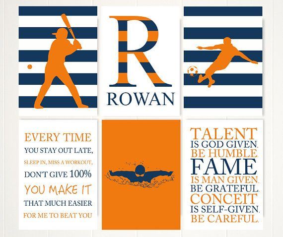 Boys sport room decor, motivational wall art, boys inspirational quotes, gift for boy, teen boy wall art, sports quotes, set of 6 prints