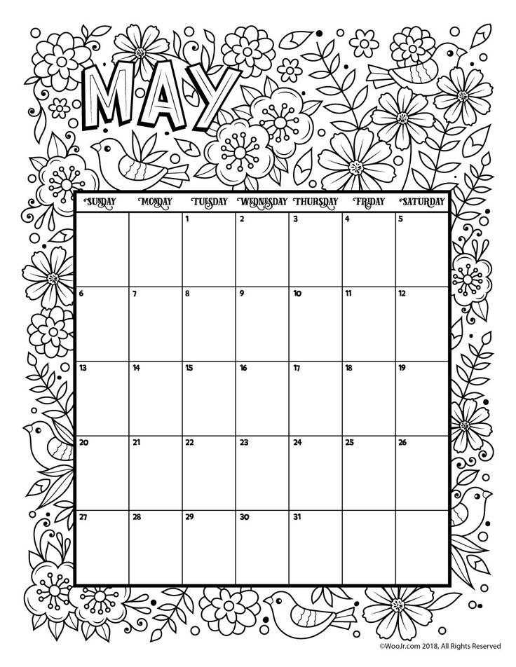May 2018 Coloring Calendar Page