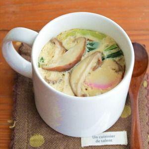 マグカップ一つで「茶碗蒸し」洗い物は、マグカップのみ!作り方も、電子レンジで簡単に出来ちゃうんですよ~蒸し器なんかも要りません!!味付けも「めんつゆ」だけなので とっても簡単♪♪手軽に 1人分ずつ作れ...