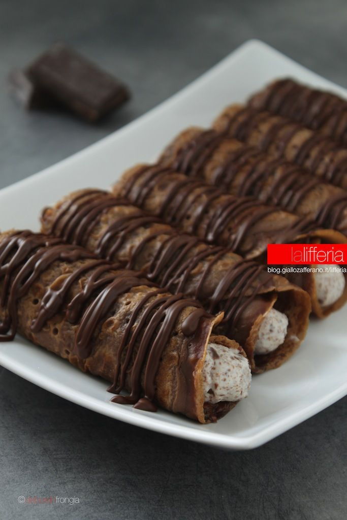 Crepes Filled With Ricotta Cheese, Chocolate Chips, and Nutella