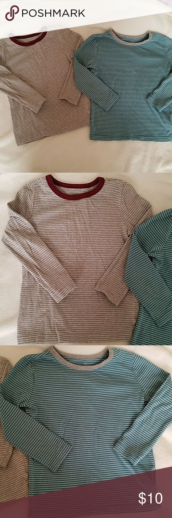 Old navy striped T shirts (long sleeve) One top is gray and white striped with a burgundy collar. The other is a turquoise and white striped shirt with a gray collar. Great condition. Old Navy Shirts & Tops Tees - Long Sleeve