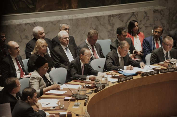 Secretary-General Ban Ki-moon (third from right), speaks at today's Ministerial Level Security Council meeting on the maintenance of international peace and security in the Middle East and North Africa and countering terrorist threats in the region.  Also pictured, from left: U. Joy Ogwu, Permanent Representative of Nigeria to the United Nations; Sergey V. Lavrov, Minister for Foreign Affairs of the Russian Federation; and Jeffrey Feltman, Under-Secretary-General for Political Affairs.  UN…
