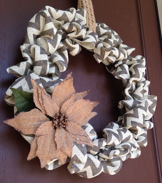 chevron burlap wreath by BellaVellaDesigns on Etsy