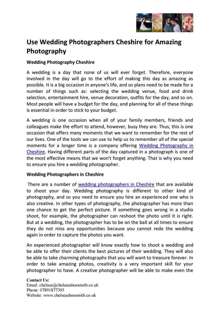 Use wedding photographers cheshire for amazing photography