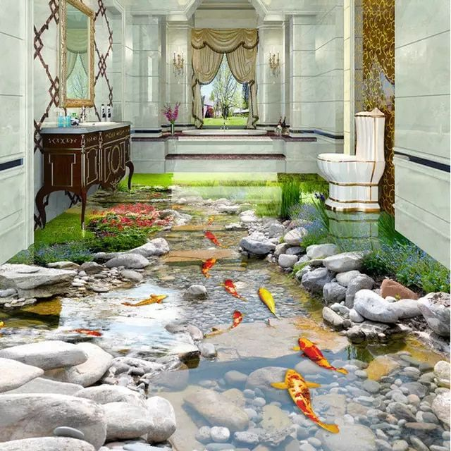 Online Shop 3d Bathroom Bathroom Kitchen Floor Tiles Non Slip Tiles Antique Balcony Tiles Ocean Waves 3d Flo Mural Wallpaper Floor Wallpaper Home Garden Design