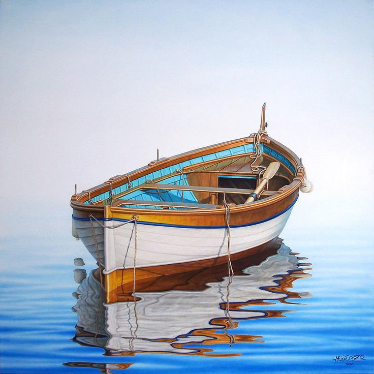 Fishing Painting - Solitary Boat On The Sea by Horacio Cardozo, boat, water, reflections, solitude, beauty