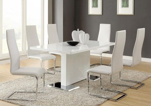 5 PC Nameth Glossy White Dining Room Table Set 102310WHT