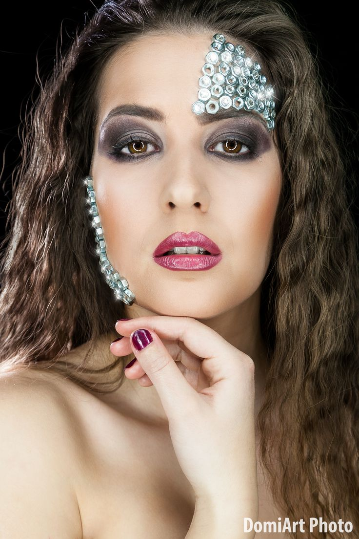Metal nuts, strass, beauty theme