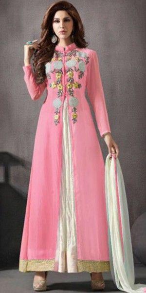 Creepy Pink Silk Anarkali Suit With Dupatta.