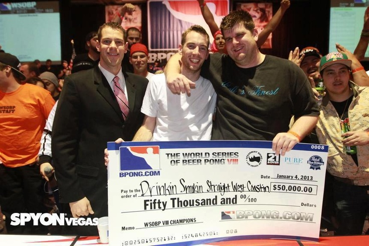 """Are you more amazed that: a.) There is actually a World Series of Beer Pong, b.) They award a $50,000 cash prize to the """"winners,"""" c.) How awesome of a team name they had and that they actually wrote it out on the check?"""