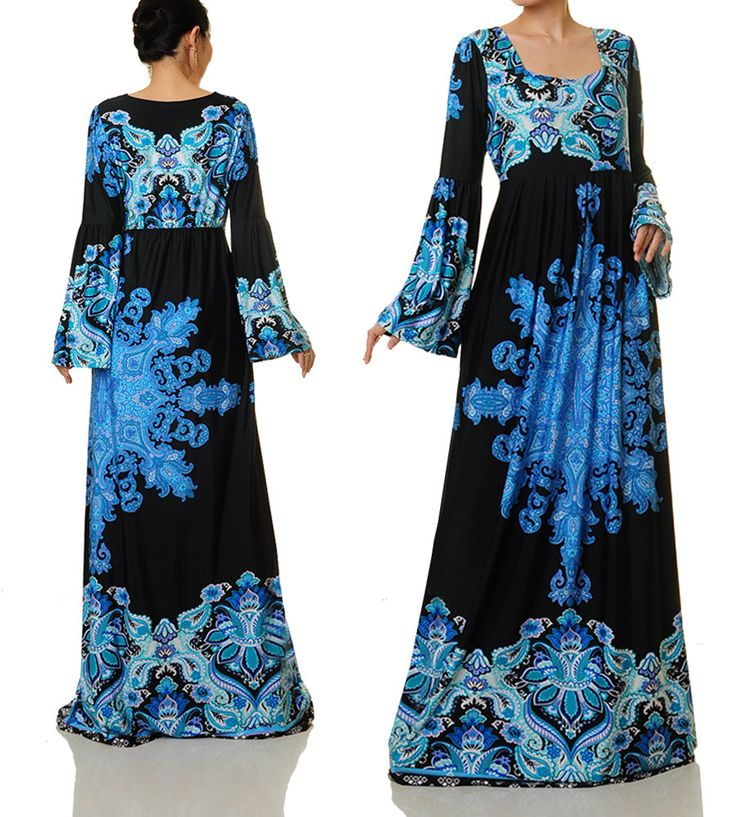 Long Boho Dress  Jersey Abaya Maxi Dress  Plus Size Maxi