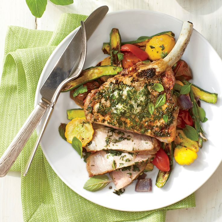 The basil butter is the star here: It seasons the pork and adds an herby, rich flavor to the roasted squash.