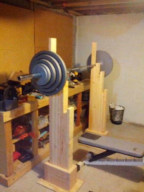Wooden squat rack for home wooden squat rack pinterest for Inexpensive power rack