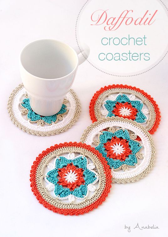 Daffodil crochet coasters, PDF pattern* ༺✿ƬⱤღ  https://www.pinterest.com/teretegui/✿༻