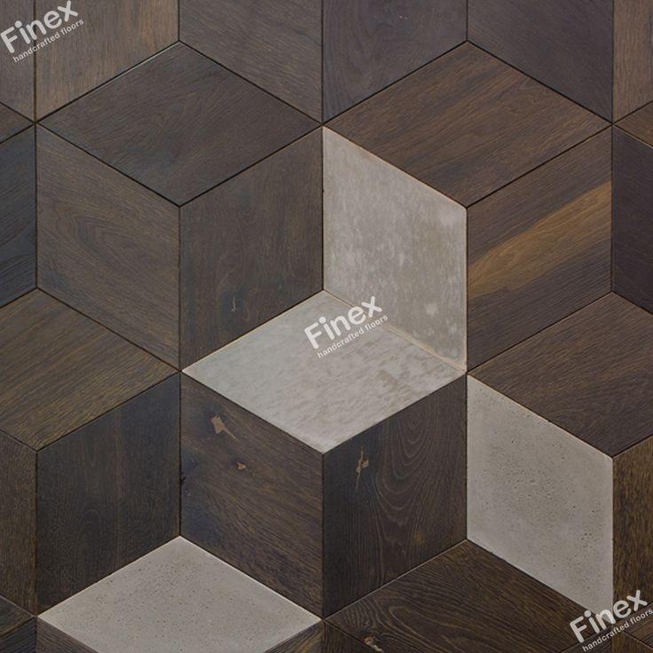 Стеновая панель «Куб» со вставками из бетона (Concrete'n'Wood) Дизайн поверхности - «Игл» (коллекция WildWood).