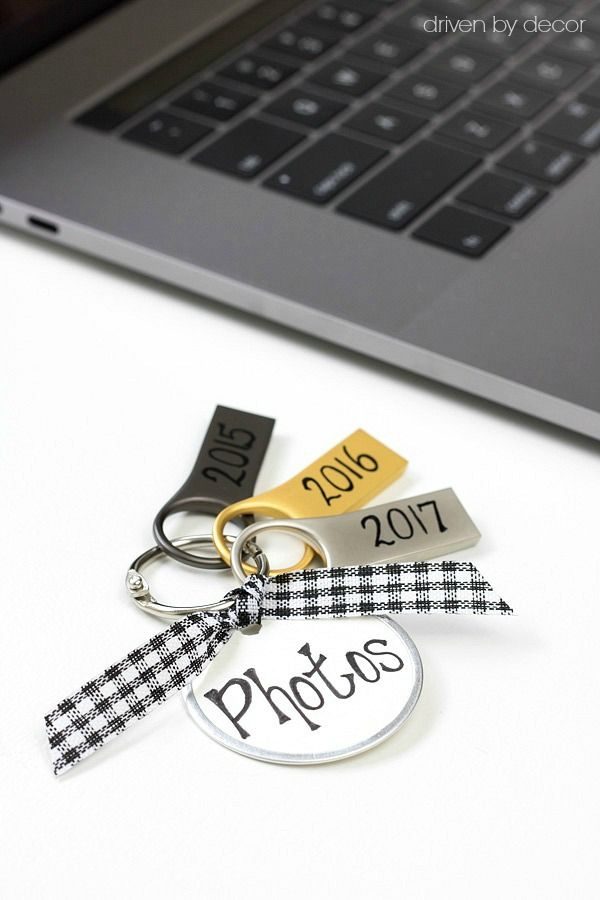 organize digital photos by year - USB flash drives on a metal ring