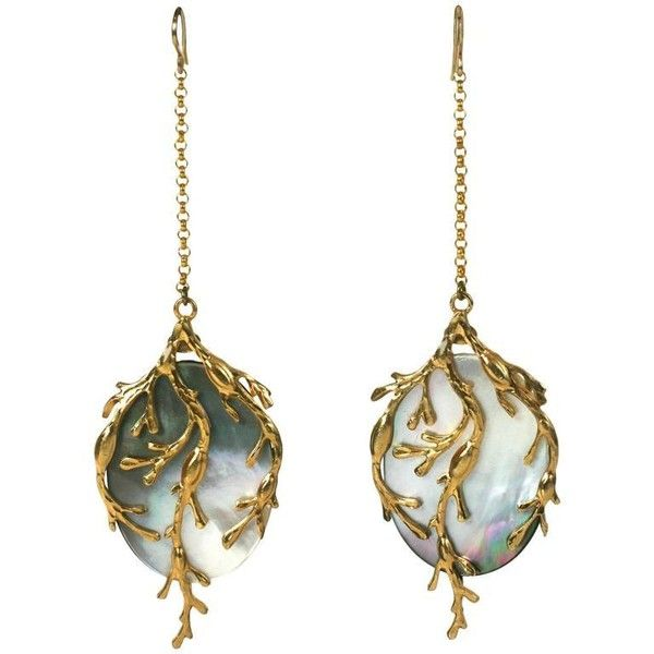 "White Mother Of Pearl ""seaweed"" Earrings, Mwlc (580 CAD) ❤ liked on Polyvore featuring jewelry, earrings, white, iridescent jewelry, white jewelry, mother of pearl jewelry, long earrings and earring jewelry"