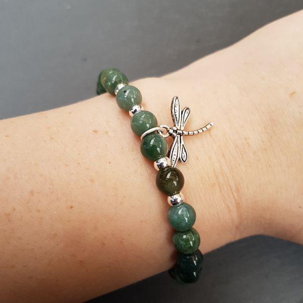 Perlenarmbänder - CLAIRE [Armband Moos Achat mit Libelle] - ein Designerstück von Myrna_Lovecraft bei DaWanda