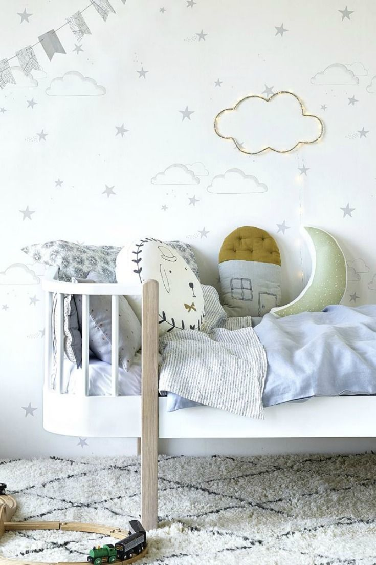 Starry Sky by Hibou Home is a stylish stars and clouds wallpaper design, which creates a pretty background for any nursery wall or child's bedroom.