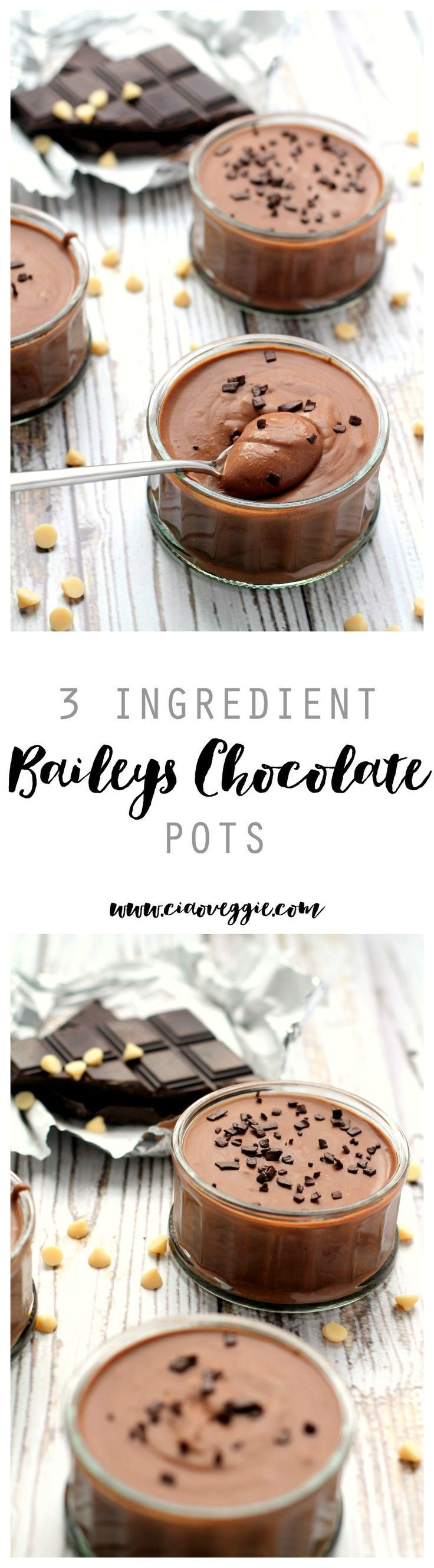 Easy peasy Baileys Chocolate Pots! This is a 3 ingredient dessert to impress. I make it super boozy, but you can tone it down if you like!