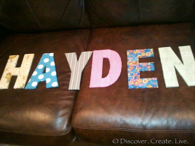 Diy cardboard letters 2d layers of cardboard fabric for How to cover cardboard letters with fabric