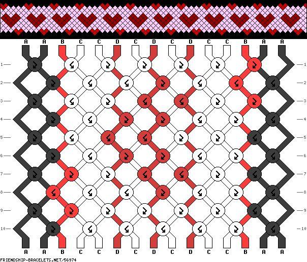 Friendship bracelet pattern - hearts