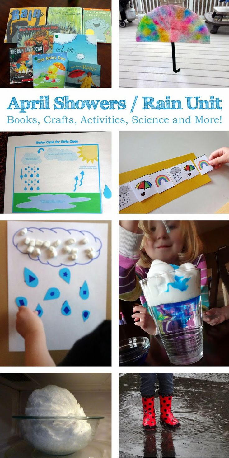 April Showers / Rain Unit - for toddlers and preschoolers. Books, Crafts, Activities, Science and More!