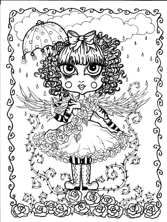 25 best ideas about gothic angel on pinterest fallen for Dark angel coloring pages