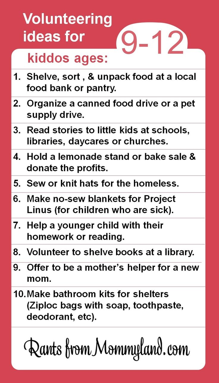 Volunteer and service ideas for kiddos ages 9-12. Kids can do a lot to help their community (they just can't clean their rooms).
