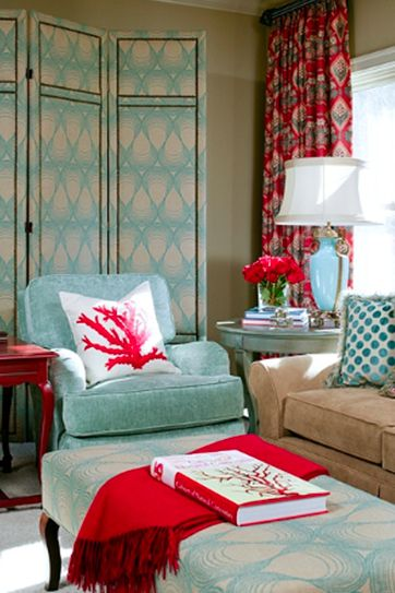 Here (above) it's paired with turquoise and red. Red is in the family of pink so it works, and almost any shade of blue goes with it.