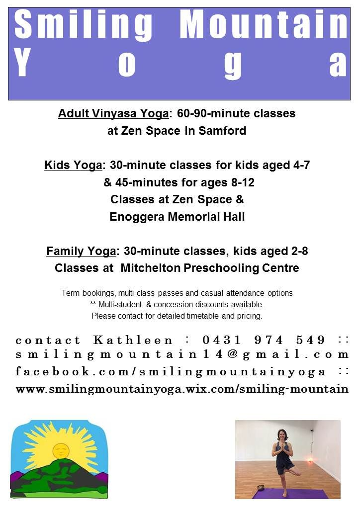 All classes now running! Contact me for details. #yoga #brisbaneyoga #fitness #brisbanekids #healthykids #activekids #healthyfamilies #kidsyoga #familyyoga #vinyasa #samfordvalley #smilingmountainyoga #thingstodoinbrisbane #brisbanenorthside