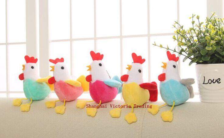 1Piece случайный цвет, Kawaii 11см Цыпленок Плюшевые Фаршированная Курица игрушки, Sucker брелок Кулон DOLL TOY;  Подарок Плюшевые игрушки куклы