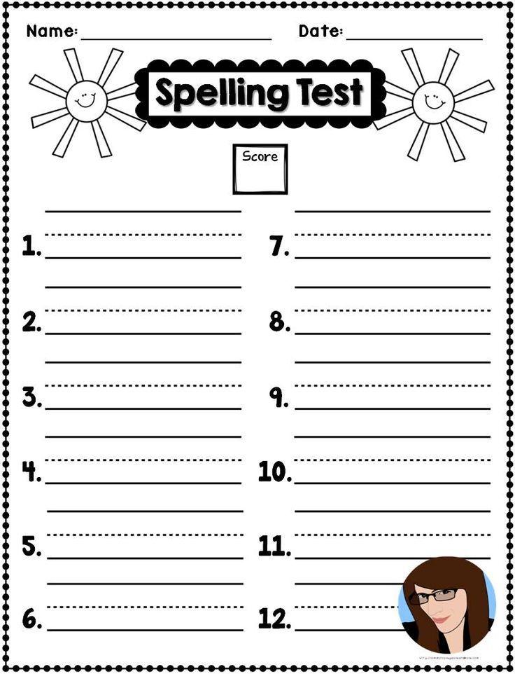 spelling test templates tpt free lessons pinterest spelling