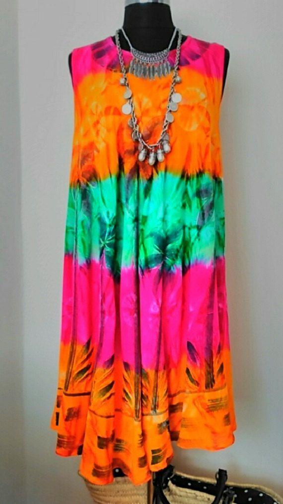 Sun Dress Rainbow Boho Dress RETRO Hippie Dress Gypsy Bohemian Dress Festival…