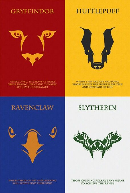 Harry Potter Häuser The Houses Of Hogwarts: All Four Houses Minimalist Harry