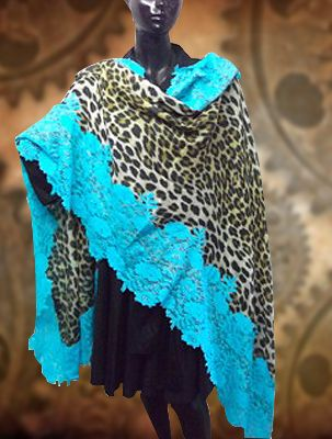 Animal Print Pashmina With Turquoise Lace!