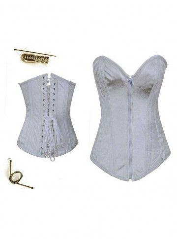 zipper front pure white bridal corset