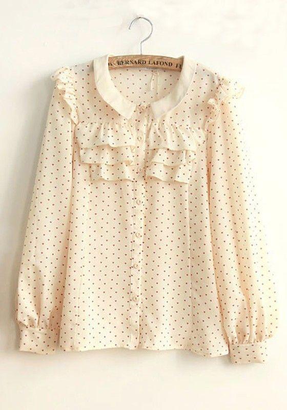 ++ Beige Heart Floral Buttons Long Sleeve Chiffon Blouse