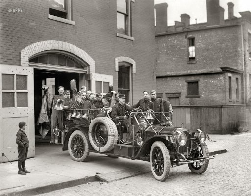 "May 3, 1911. Detroit, Michigan. ""Packard fire squad."""
