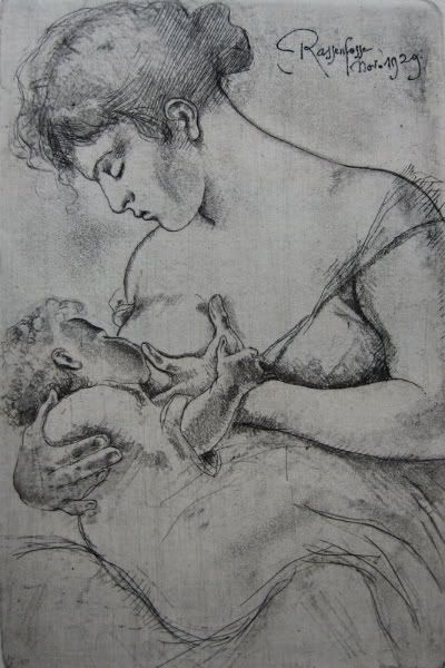 Breastfeeding sketchRassenfoss 18621934, Motherhood Art, Breastfeed Art, Armand Rassenfoss, Breastfeed Tattoo, Breastfeeding Art, Breastfed Art, Originals Etchings, Rassenfoss 1862 1934