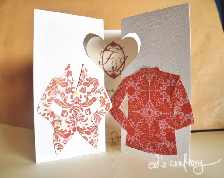 DIY wedding card - wit traditional Kebaya costume made from pattern paper