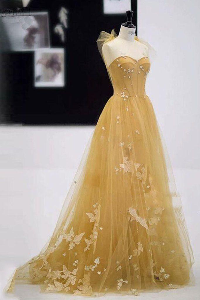 Schatz Champagner Tüll lange A-Linie 3/4 Abdeckung Abendkleid, formale Parte …   – Prom
