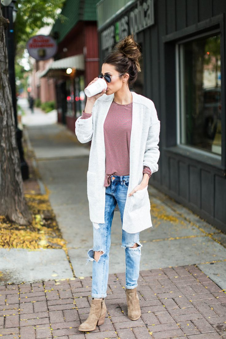 DETAILS: STRIPED COLD-SHOULDER TOP (UNDER $50) | GREY POCKET CARDIGAN  (UNDER $100) | DISTRESSED DENIM (UNDER $100) | SUNGLASSES | SUEDE BOOTIES HAPPY WEDNESDAY GUYS!! A soft, oversized cardigan is…