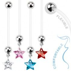 Bioflex piercing do bříška s barevnou zirkonovou hvězdou