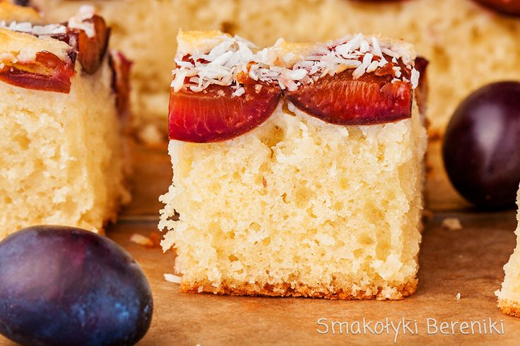 Coconut yogurt cake with plums